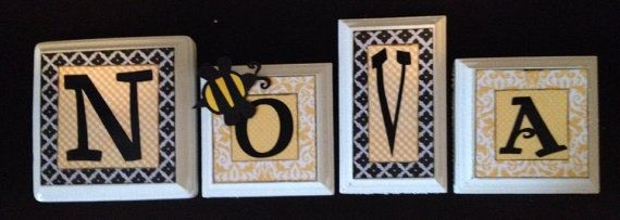 Child Baby name letters, hanging wall letters, kid wall decor, baby nursery decor, baby name sign, name blocks, custom, yellow, black, bee on Etsy, $11.50