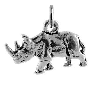 Sterling Silver Rhinoceros Charm