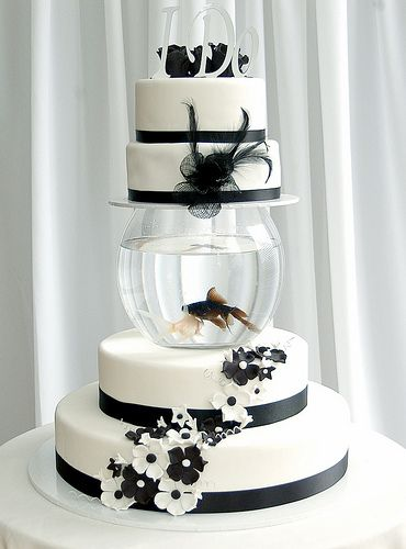 Fish Cake for ErinIdeas, Fish Tanks, Parties Cake, Cake Stands, Black White, Wedding Cakes, Fishbowl, Party Cakes, Fish Bowls