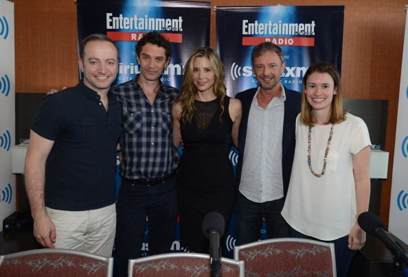 LR James Frain Mira Sorvino and John Simm pose with hosts Mario Correa and Julia Cunningham at SiriusXM's Entertainment Weekly Radio channel from...