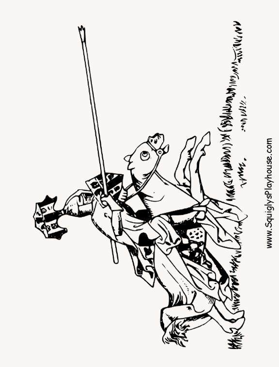 Knight Jousting coloring page for kids. Great for medieval