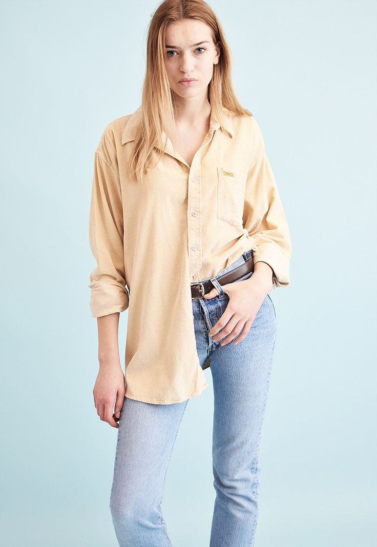 90's retro corduroy oversized neutral shirt top | Vintaholic | ASOS Marketplace