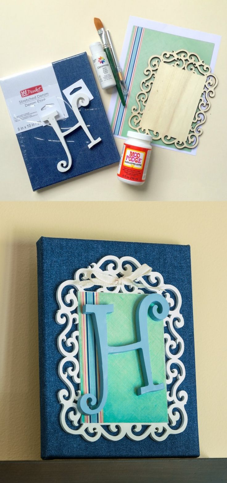 Use simple supplies including printed paper, paint and Mod Podge to make this personalize monogram canvas. It makes a great gift!