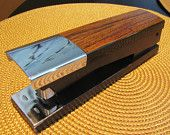 Mid century vintage ACCO heavy duty chrome and wood laminate stapler. back to school desk accessories