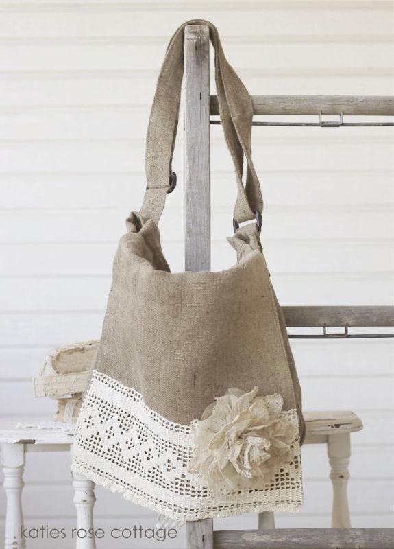 burlap messenger bag with vintage lace an tattered rose