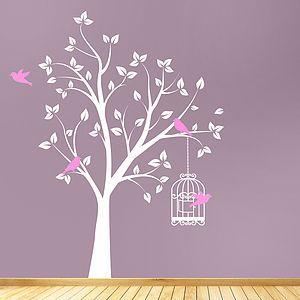 Tree With Bird Cage Wall Sticker - interior accessories