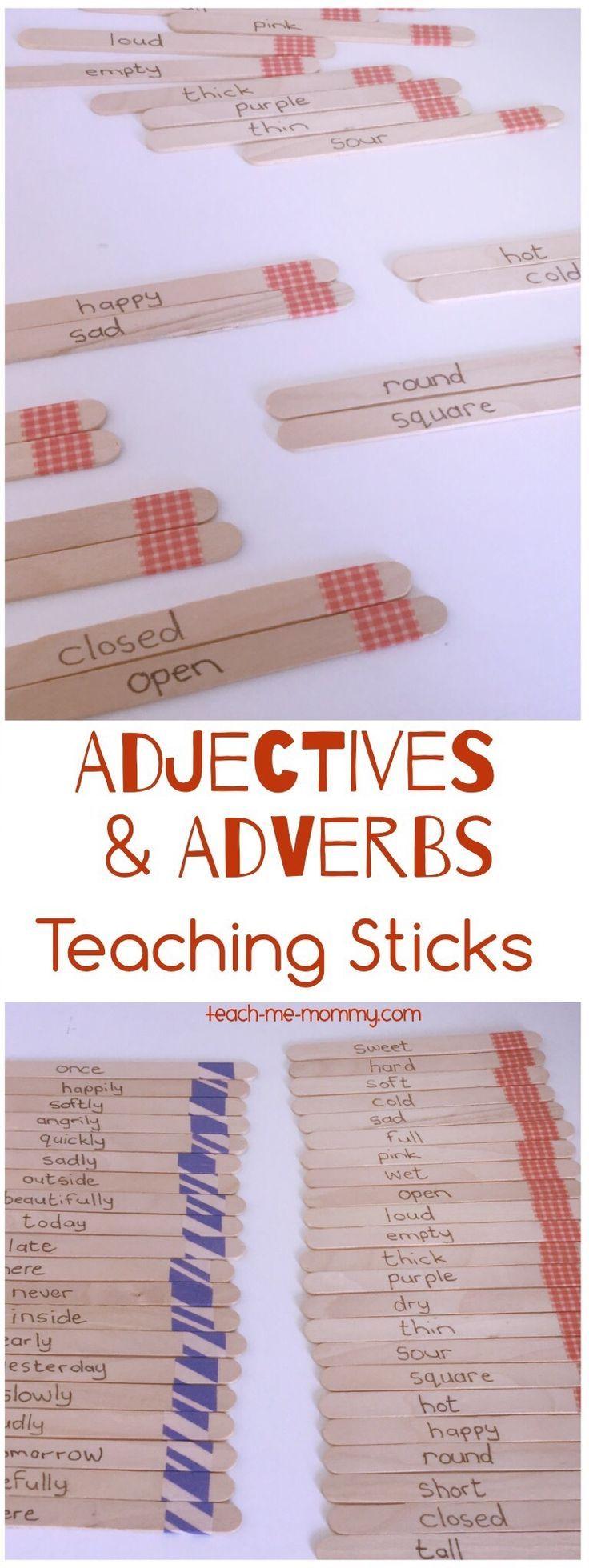 Adjectives & Adverbs Sticks for teaching children!