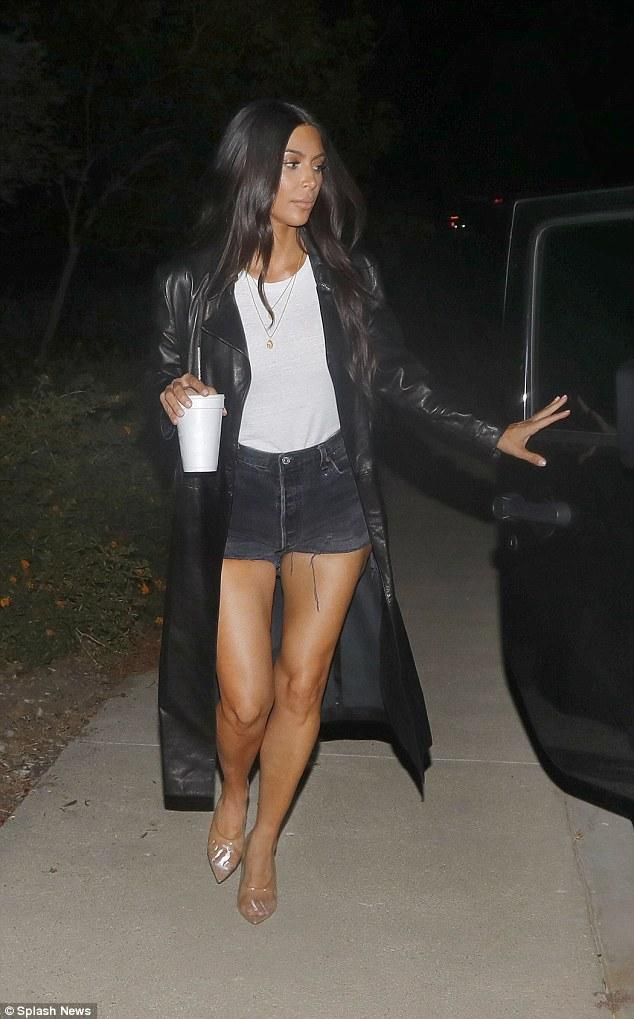 Kim Kardashian wearing Yeezy Mule PVC Clear and American Apparel Eco-Jersey Crew T-Shirt
