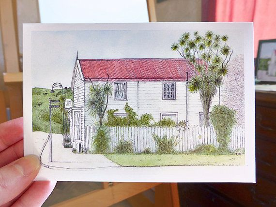 Windermere historic home note card, small art print by AnnaCullArt