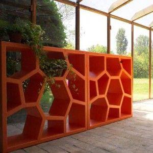 Orange bookshelf room divider