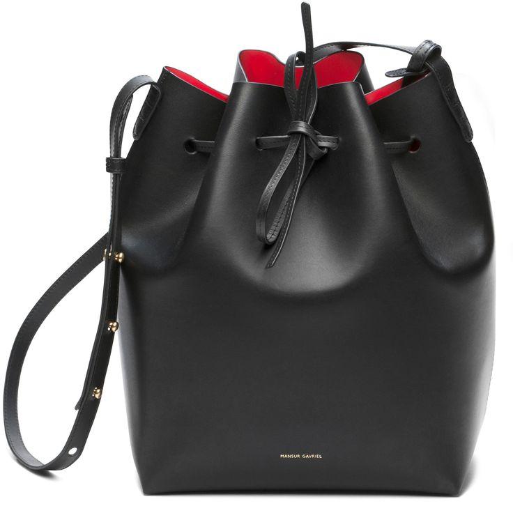 "http://www.mansurgavriel.com/products/bucket-bag-black/flammaMansur Gavriel Bucket Bag 12.25"" H X 10"" W X 6"" D $495.00"