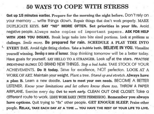 50 Ways to Cope with Stress: Life, Inspiration, Quotes, Stress, 50Ways, Health