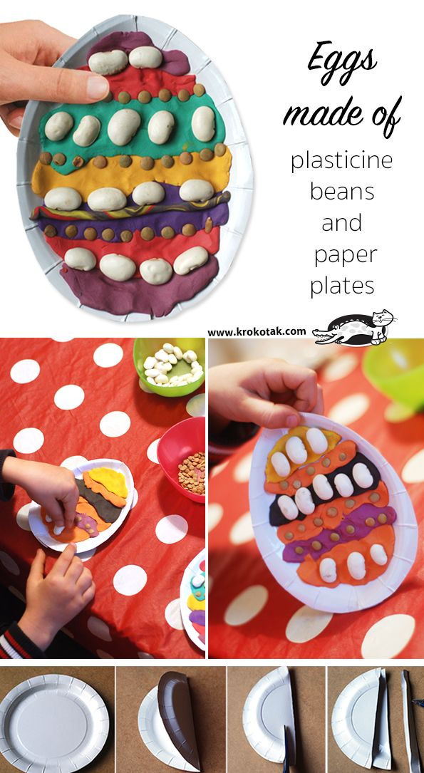 Eggs Made of Plasticine, Beans and Paper Plates