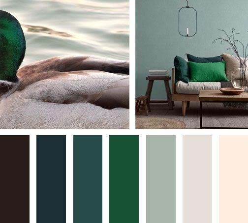 Inspirada en un pato verde surge esta paleta de colores, llenando de tonalidades verdes y cafés el diseño interior de esta casa moderna.  Espacio vía: bloglovin