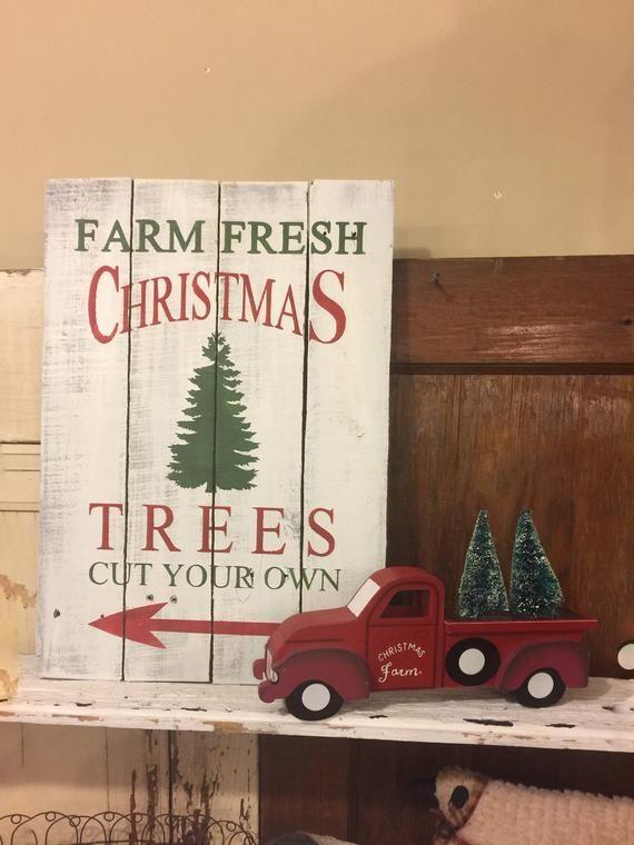 Farmhouse Christmas Trees For Sale Sign Christmas Sign Wooden Christmas Tree Sign Christmas Tree Shop Farmhouse Christmas Tree Tree Shop