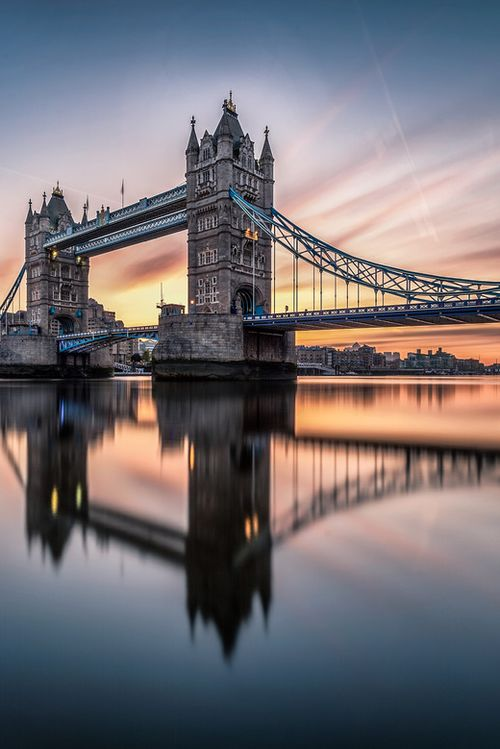 "sundxwn: "" Sunrise over the Tower Bridge by Yunli Song """