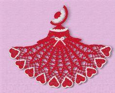 Valentine Crinoline Girl Doily