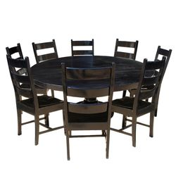 Rustic Solid Wood Black Round Dining Table Chair Set
