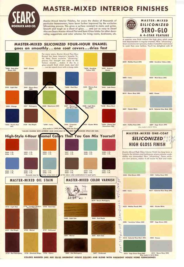 mid century color swatches and paint colors from sears classic harmony house collection
