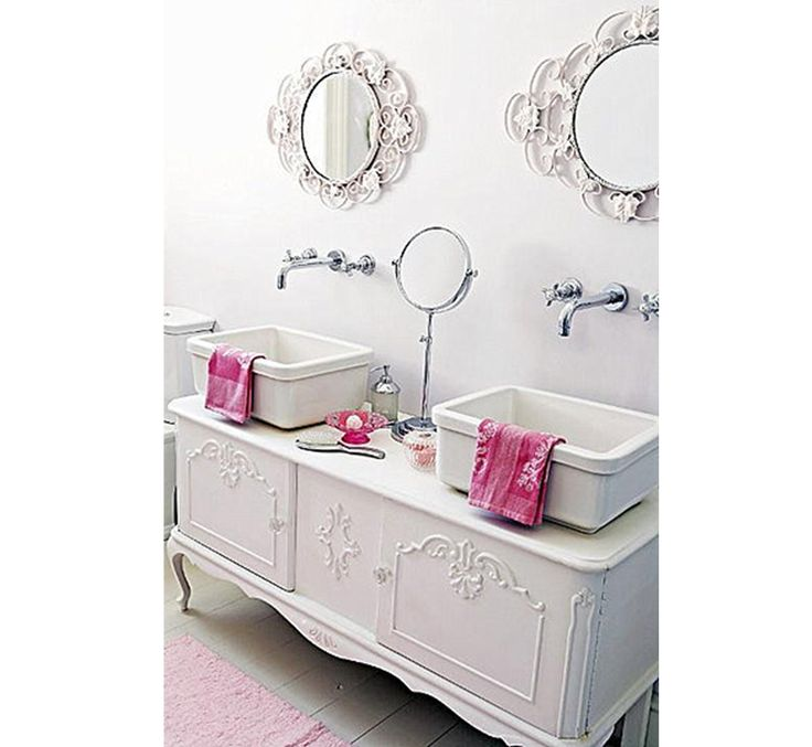 Using a Dresser as a Glamorous Bathroom Vanity #decor