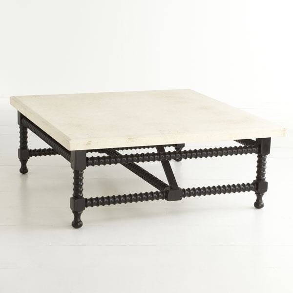 W6246Spanish Travertine-Top Coffee Table Coffee Table