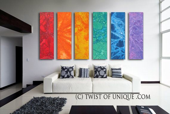 Neat! Could even do this with canvas covered in textured, colored fabrics. Would look awesome in my living room with all my primary colors!!! - Oversized abstract Painting, CUSTOM 6 Panel Abstract Wall Art, Large Modern Painting - Rainbow, Red, Orange, Yellow, green. blue, purple