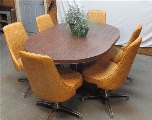 harvest gold chromcraft vintage kitchen table chair set dining room dinette 70s - Chromcraft Dining Room Furniture