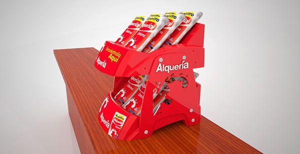 Propuesta de Exhibidor Modular desarrollado para Alqueria, las posibilidades son variadas ya que se puede colocar sobre mostrador o tener fijo a la pared.