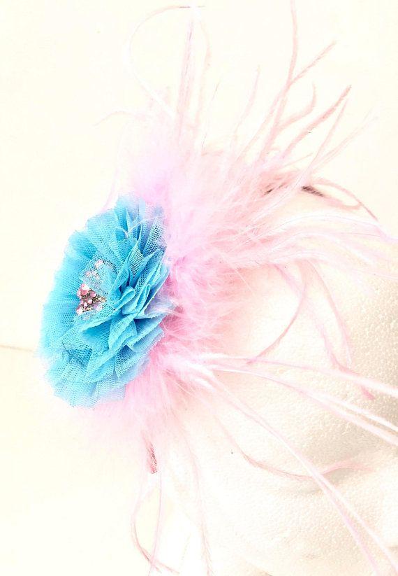 7888b920f7c12 Blue Pink Flower Feather Fascinator Headband. Flower Feather ...