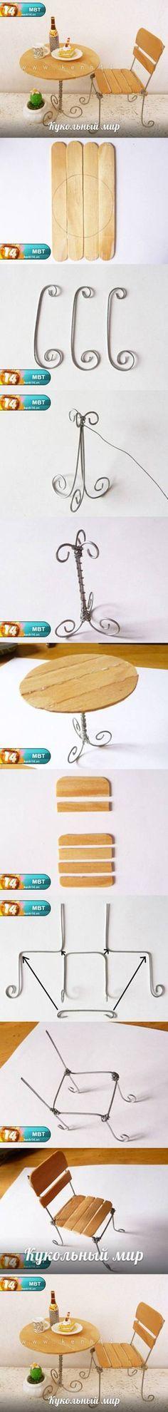 DIY Popsicle palo Escritorio y silla DIY Proyectos / UsefulDIY.com
