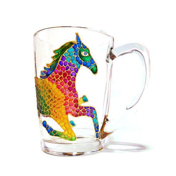 Horse coffee Mug Glass coffee Mug Personalized gift Mens