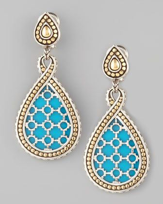 Dot Turquoise Teardrop Earrings by John Hardy at Neiman Marcus.