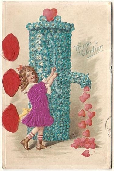 To My Valentine - Girl At Floral Water Pump - 1921 Felt/Velvet Embossed Postcard • For Sale $3.09