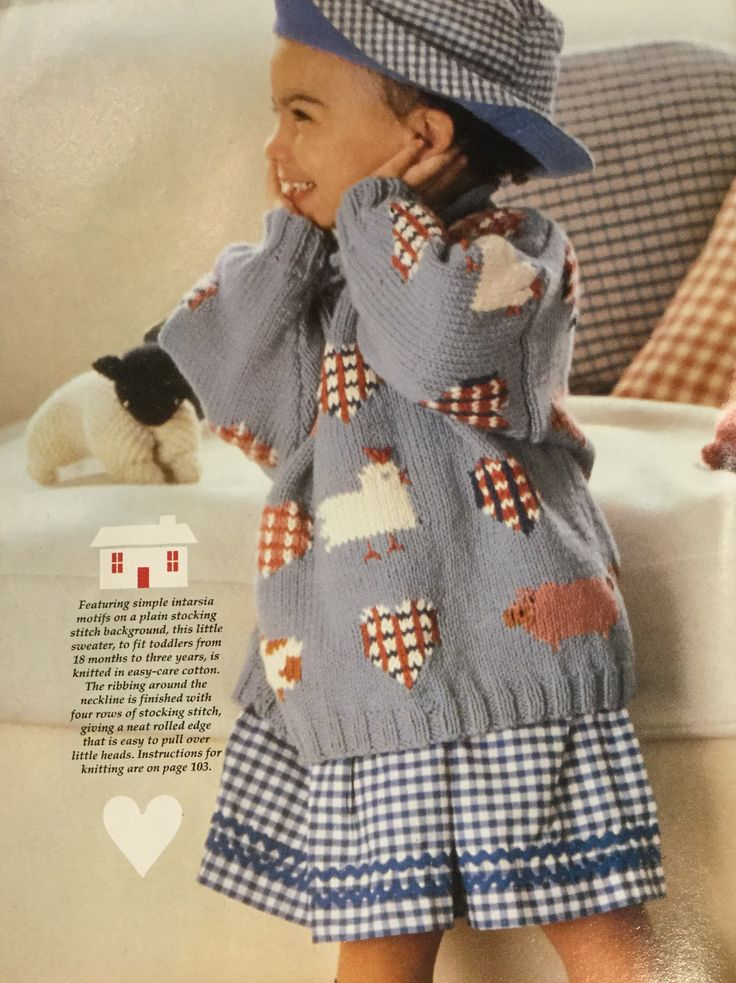 Hearts and Hens Sweater.  Debbie Bliss.  Intarsia motif child's knitted jumper.  Handmade Sep/Oct 1996 vol 12 no 5.  18/12-2yo.  10 ply 140m/100g Mc x 3, 0.5 x 5 contrasts