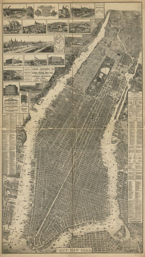 """Remarkable map: a bird's-eye perspective view of New York City, was created by Will L. Taylor  (""""chief draftsman""""), and published by Galt & Hoy of New York in 1879."""