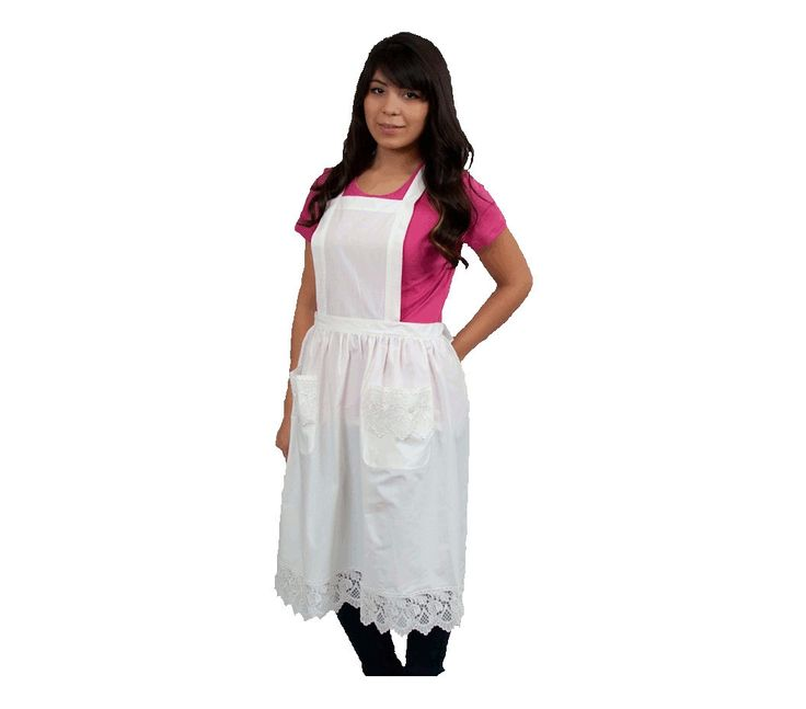 Pretty White Lace Full Apron. Available in children sizes as well. And in White or Ecru color.