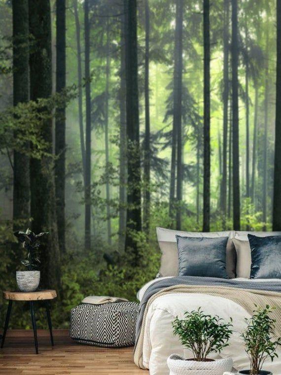 Dark Green Misty Forest Wall Mural Wallpaper Peel And Stick Etsy Forest Wallpaper Bedroom Forest Wallpaper Forest Wall Mural