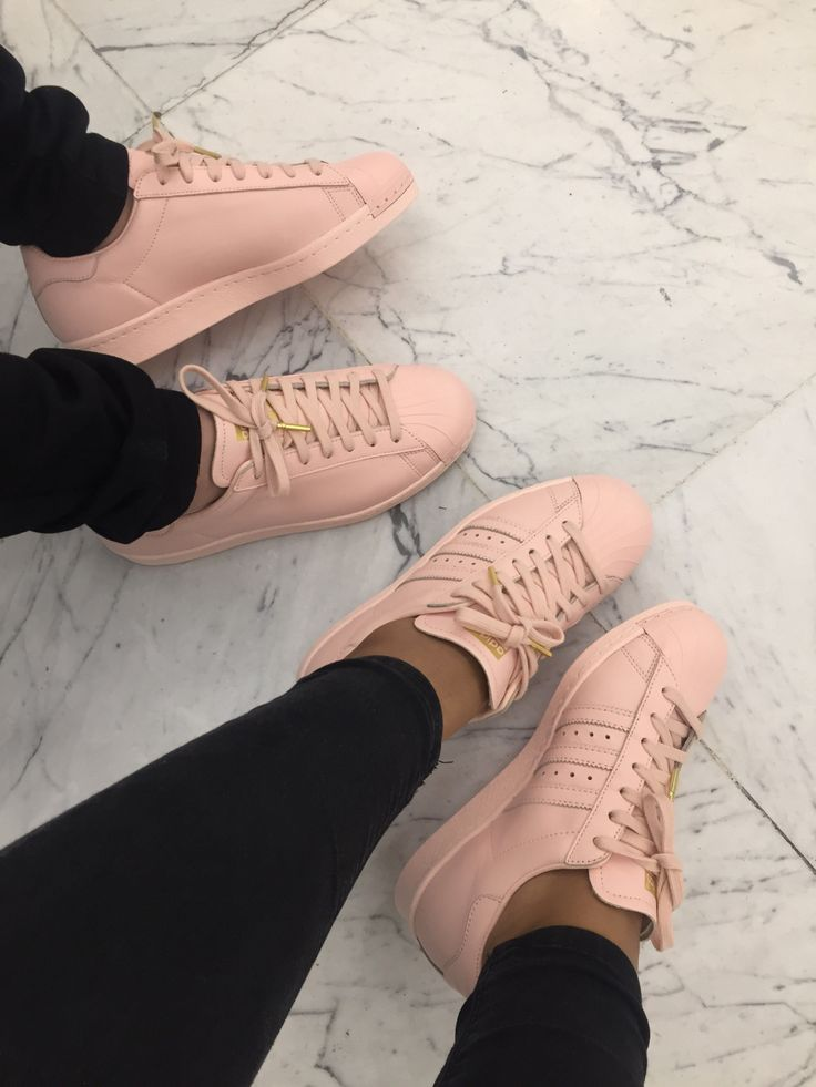 Plain Light Pink adidas Superstar Shoes/Sneakers with Laces