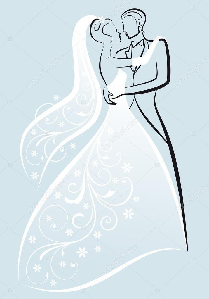 Mariée et le marié baiser, illustration vectorielle