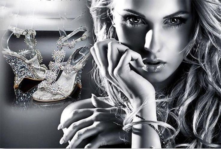 Cristallo Scarpe 2015 Nuovo Hot Sandali Con Zeppe Principessa Alta Diamante Scarpe Donna