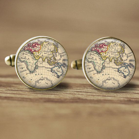 Presents for him:  World Map Cuff Links 18mm Cufflinks Glass Cufflinks Picture Cufflinks Photo Cufflinks - Old Map Cufflinks (337)