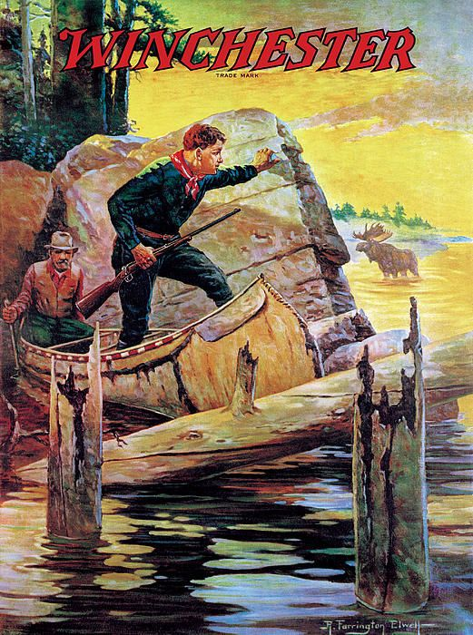 Winchester Ad: Hunter, Guide in Canoe with Moose R. Farrington Elwell fineartamerica.com