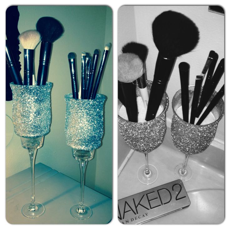 I was sick of having my makeup brushes everywhere so I made something to keep them in. Super easy, I bought everything from the dollar store! Glued glasses to candle sticks and added glitter! I love them! #dyi #makeup