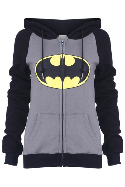 "Romwe.com ""Big Mouth"" Grey Hoodie Coat  $38.99 #Romwe #batman"
