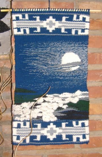cuatro elementos: agua tapiz en telar lana tejido en telar