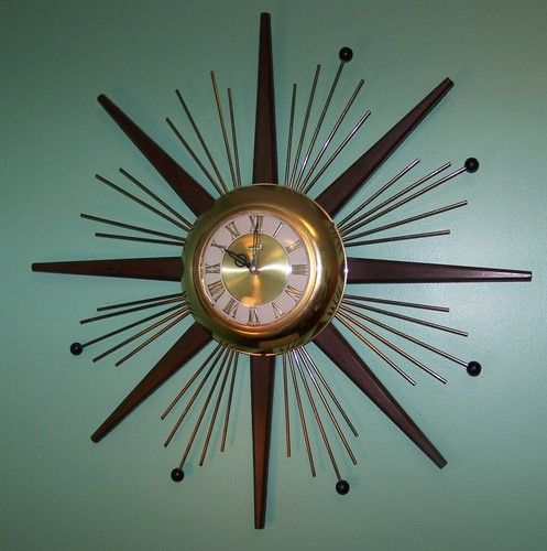Vintage United Sunburst Atomic Mid Century Starburst Wall Clock 1960 S Bayard In 2018 Furniture And Related Pinterest