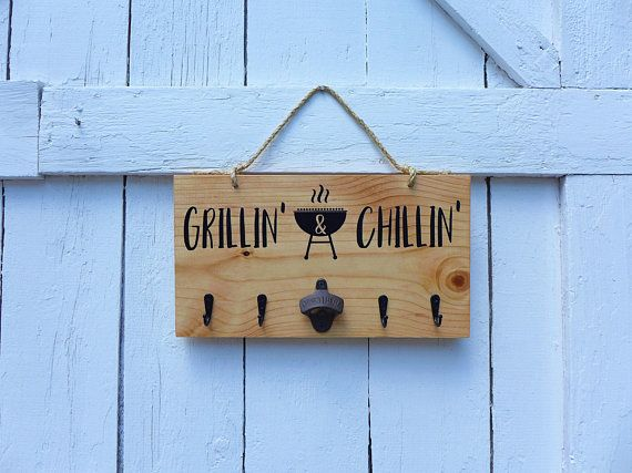Grill tool holder bottle opener grill decor bbq - Grill utensil storage ideas ...