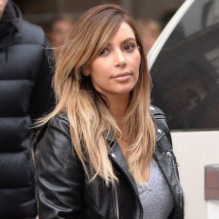 Kim Kardashian Blonde Hair Leather Jacket And Grey