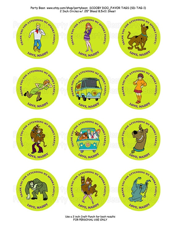scooby doo birthday thank you favor by partybean on etsy