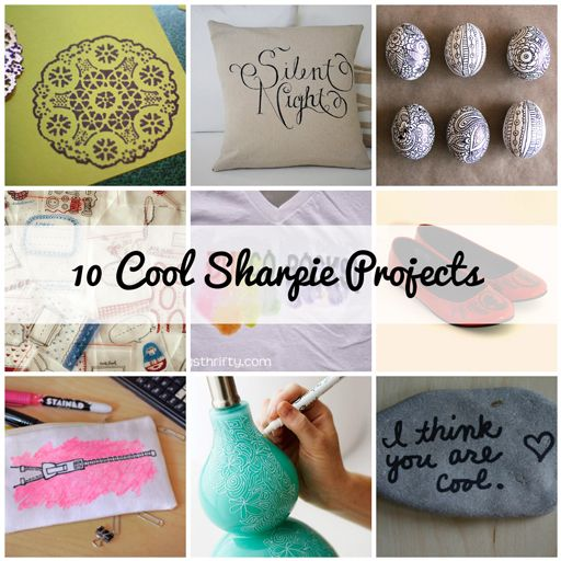 10 Cool Sharpie Projects....loving the white sharpie on the lamp base.